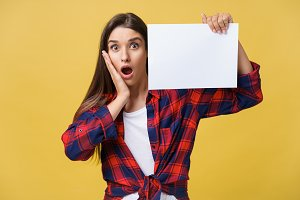 surprised young girl in red shirt