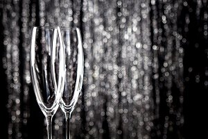 Empty champagne or wine glasses with