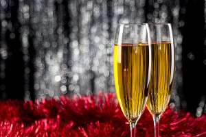 Two champagne or wine glasses with r