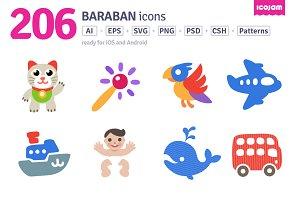 206 Baraban icons (flat + solid)