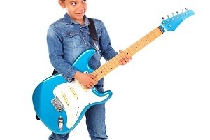 Happy child playing electric blue gu