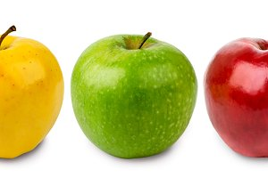 Three apples green, yellow and red