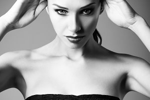 Beautiful young woman. BW