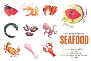 Seafood Cartoon Set