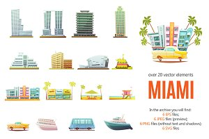 Miami Scenes Cartoon Set
