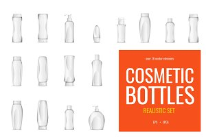 Realistic cosmetic bottles