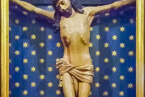 Jesuschrist Sculpture with Wooden Bo