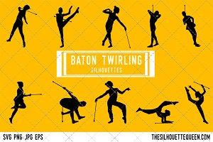 Baton Twirling silhouette