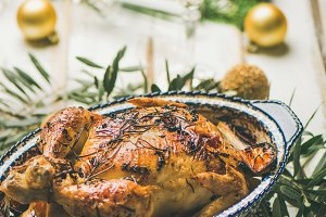 Roast chicken over Christmas or New