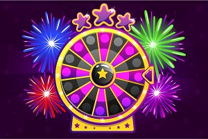 Vector purple Wheel of Fortune and