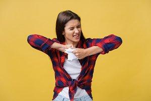 Aggressive young caucasian woman