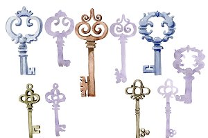 Watercolor vintage old keys PNG set
