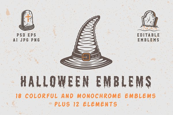 Logo Templates: AkimD - Vintage Halloween Emblems Part 1