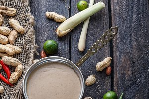 Ingredients for peanut sauce on a