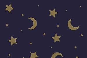 Moon & Stars Whimsical Witch BG