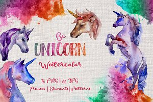 Colorful unicorn horse PNG set