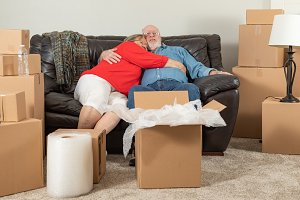 Senior Adult Couple on Moving Day