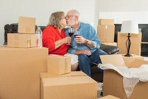 Senior Adult Couple Toasting Wine