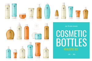 Realistic cosmetic bottles set
