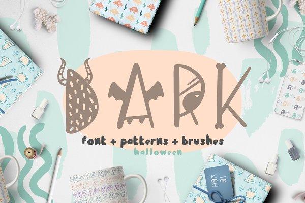 Script Fonts - Dark font + patterns, brushes, MORE!