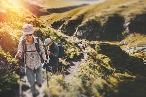 Group Of Hikers Man And Womans With