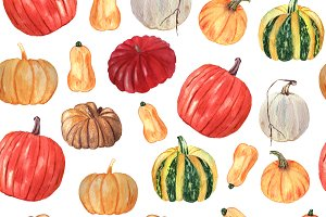Watercolor autumn pumpkins set