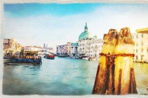 Venice Wharf Watercolor