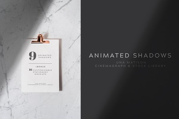 Product Mockups: Una Matison - Animated shadows overlays + Bonus