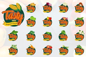 Tasty Meal Vegetables Emblem Logo