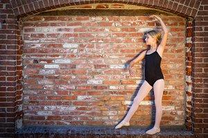 Cute Caucasian Ballerina Girl Posing