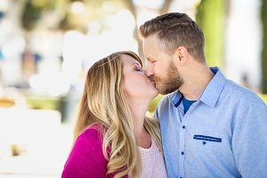 Young Adult Caucasian Couple Kissing