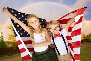 Cute Boy and Girl Hold a Flag
