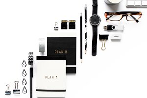 Monotone desk & stationery flat lay