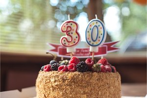raspberries blackberry birthday cake