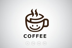 Smiling Paper Coffee Logo Template