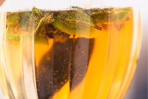 Carbonated soda water or juice with