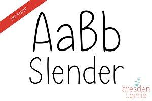Slender Hand-Drawn Font