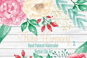 Vector Watercolor Floral Harmony 2