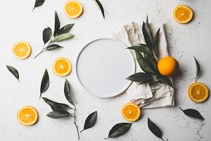 Flat lay orange slices, orange tree