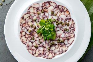 OCTOPUS CARPACCIO. Seafood Raw