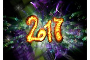Happy new year 2017 isolated numbers