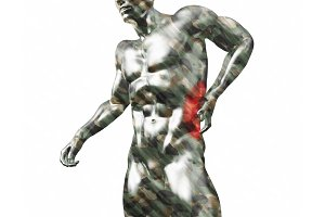 Male torso, pain in the back