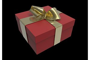 Striped red Present box with gifts