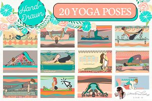 YOGA POSES SET 20 HAND-DRAWN ASANAS