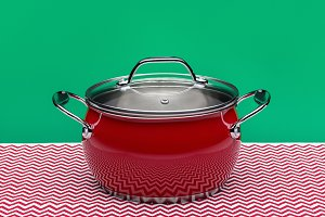 Modern new red cooking pot.