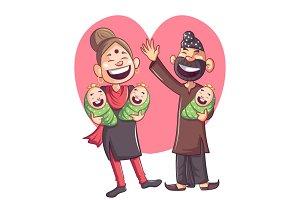Happy Punjabi Family Illustration