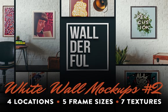 """Wallderful"" White Wall Mockups #2"