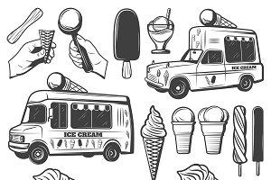 Vintage Monochrome Ice Creams Set