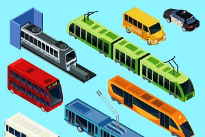Isometric Public Transport Set