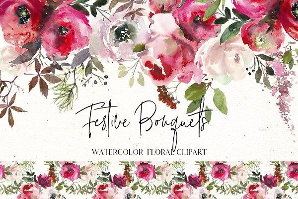 Festive Bouquets Watercolor Flowers
